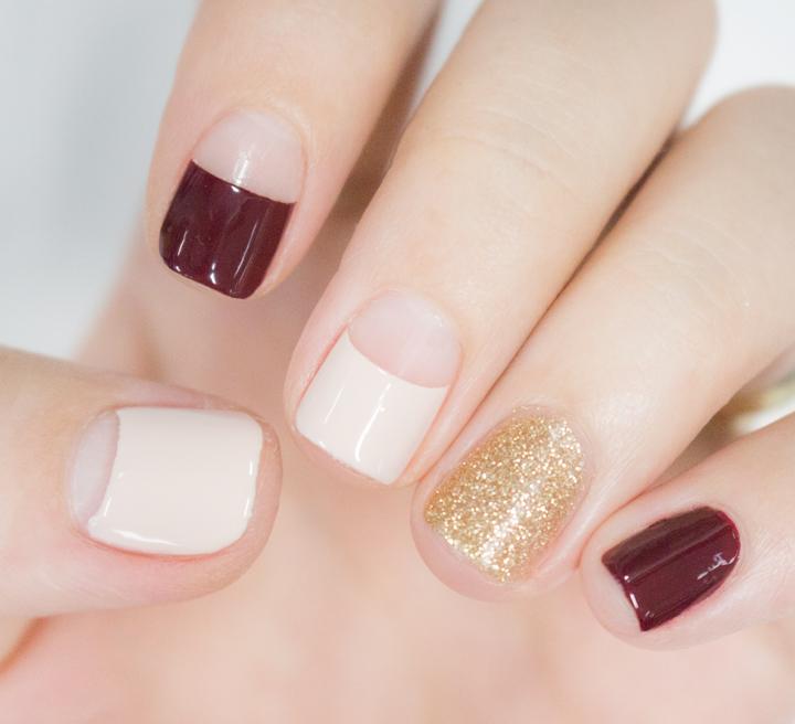基本的顏色和花色安排就是醬子~拇指,食指,中指是法式風情,其它的兩個手指直接上底色就好了!下面小編再具體教大家怎麼操作!