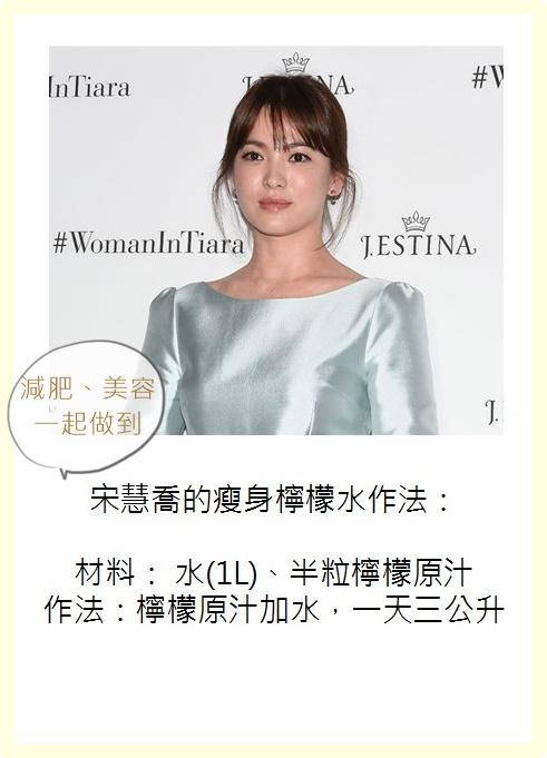 擁有女神美貌的宋慧喬則是透過每天喝檸檬水抑制食慾,不經過節食,健康瘦下來的。