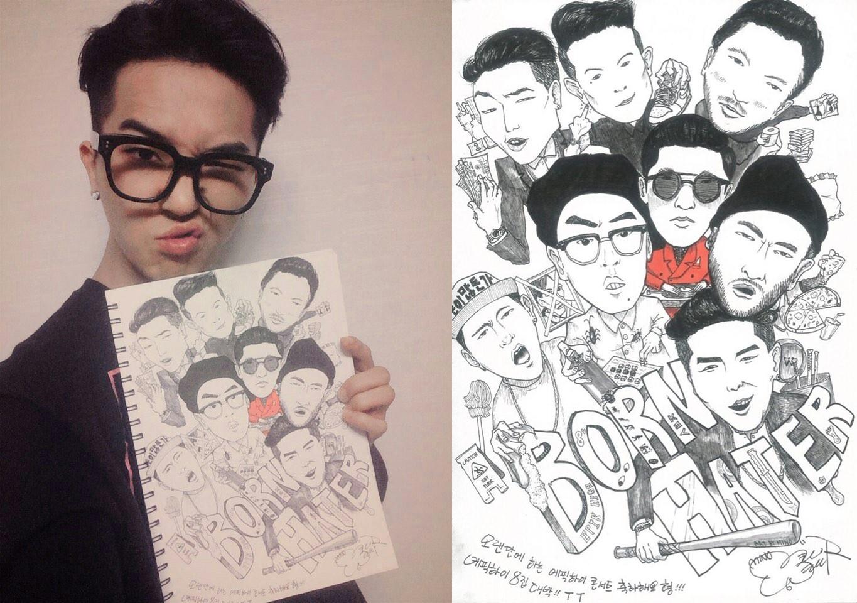 去年Tablo在官方twitter上公開過閔浩的漫畫作品,閔浩為了慶祝Epik High的演唱會,親手畫了《BORN HATER》MV中的人物送給了師兄啦~