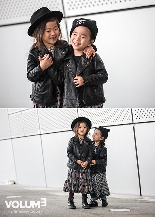小編還發覺到一對小可愛~從小就這麼酷帥,永遠的時尚機車皮衣果然是所有人都愛啊!