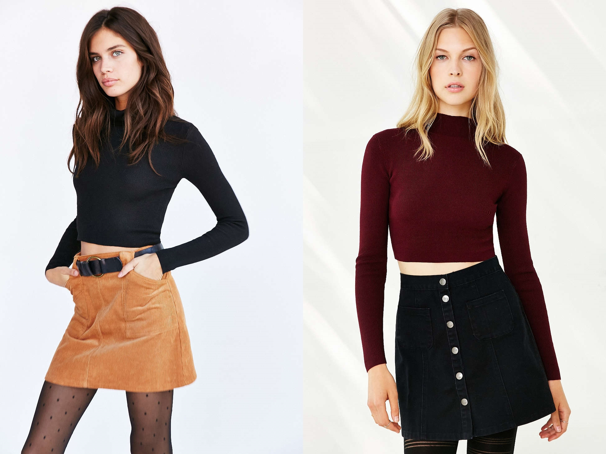 適合冬天的短版上衣,也可以選擇稍微高領的設計,能夠從頸部就創造出線條美感。