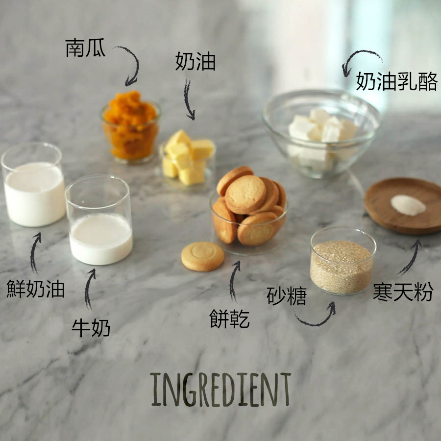 材料如下:1/2個南瓜約300g , 奶油1大匙,寒天粉1大匙,鮮奶油1杯,自己喜歡的餅乾1杯,奶油乳酪2/3杯,牛奶1/2杯,砂糖1/2杯。為了方便大家準備皆以紙杯為單位,只要準備好這些材料就能做出直徑約18公分的蛋糕