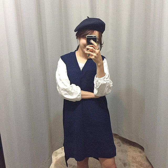 針織套裙也能輕鬆hold住! 總之一句話,貝雷帽+針織=↖^完美^↗!