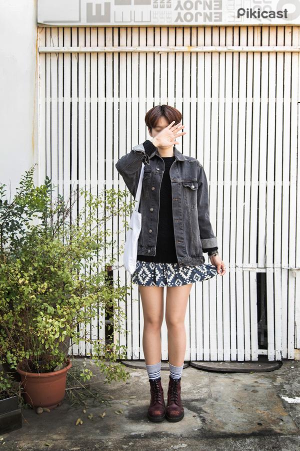 3) 和針織或印花褲一同穿上 誰說丹寧不能有少女風?