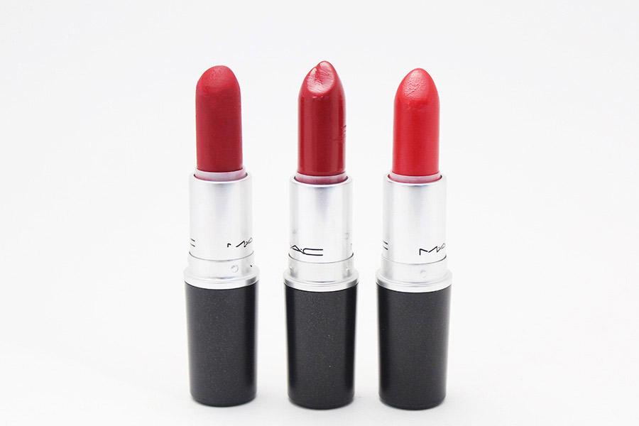 2. MAC Ruby Woo, MAC Brave Red, MAC 5-Alarm