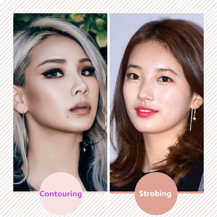 與之相反的妝容是Contouring makeup,運用比原本膚色還深的顏色來形成對比...☆