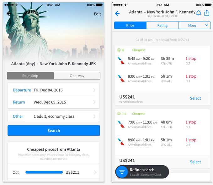 #2 Sky Scanner Skyscanner是一個查詢與訂購便宜機票的網站。它的App和網站一樣方便,可以快速查詢到全球機票購買最便宜的票價,也能直接透過手機訂購,或設定價格浮動通知喔!