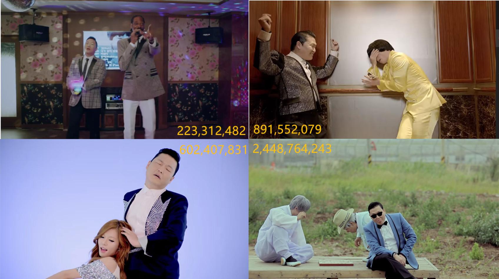 前四名又是另外一個層次了!全由「世界巨星」PSY包辦,而且最低是2億次起跳的《Hangover》,最高是24億點閱率的《江南Style》,也是至今Youtube史上最高點閱的影片!