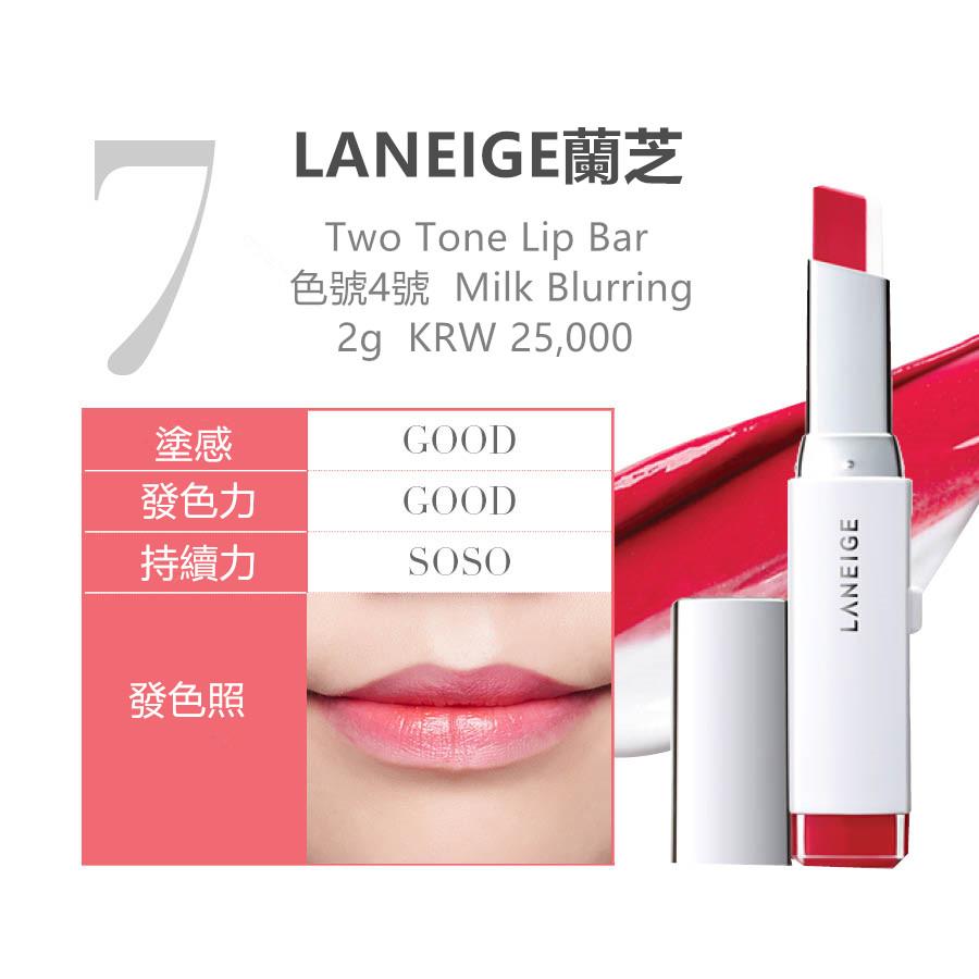 LANEIGE蘭芝最近在韓國很有人氣的品牌,尤其是4號Milk Blurring兩色漸層口紅很適合在冷颼颼的天氣塗,而且4號Milk Blurring這款是一個每個人都適合的淺紅色,因此在韓國是一個人氣很高的口紅.