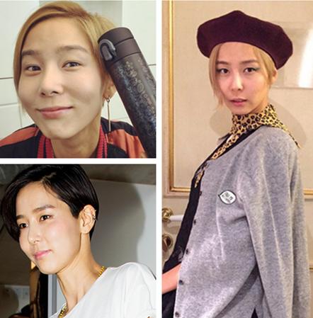 以大膽造型和穿衣品味成為韓國當紅時尚達人的金娜英,髮型也是個性十足。在別人眼中很開朗、很調皮的她,用短髮增加了時尚帥氣的感覺,最近也用金色不對稱短髮打造了屬於她自己的短髮魅力。話說短髮跟貝雷帽也很搭哎