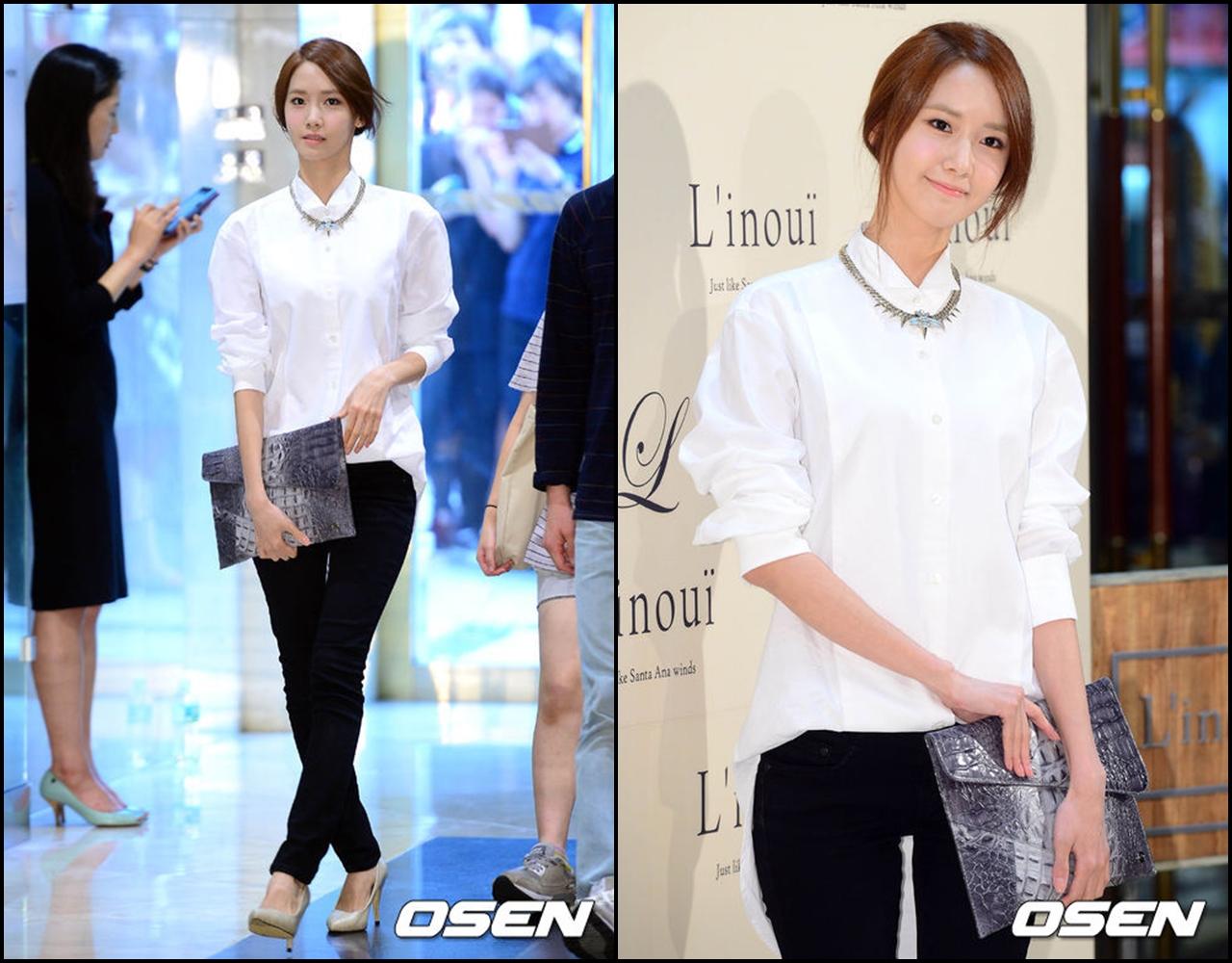 上半身穿白色襯衫,對比強烈的配色,也會有顯瘦的視覺效果喔 σ`∀´)σ