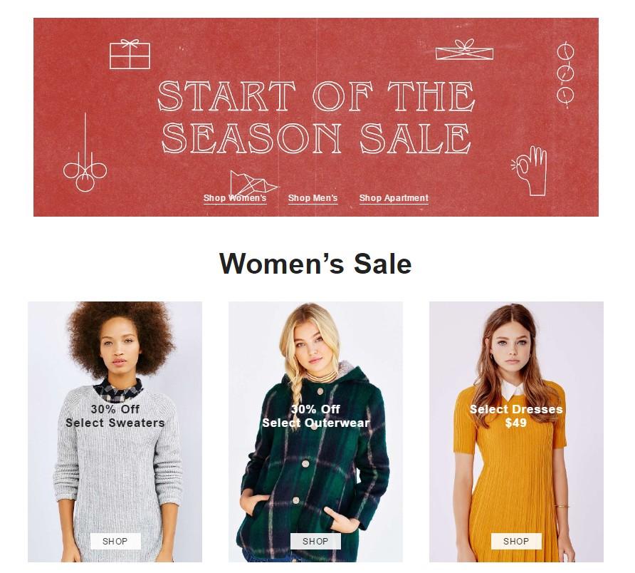 #2 Urban Outfitters 美國的UO目前也有打折的活動,雖然還沒到聖誕期間的打折季,但有些毛衣、外套也可以先看看喔!