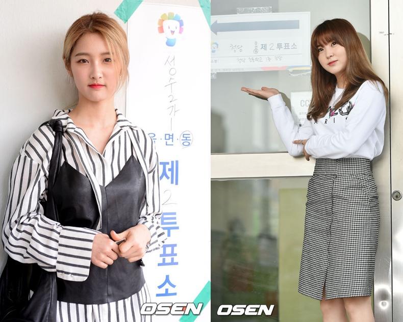 今天女團4minute成員智賢和昭賢也有去投票,記者也幫她們拍下了認證照^0^