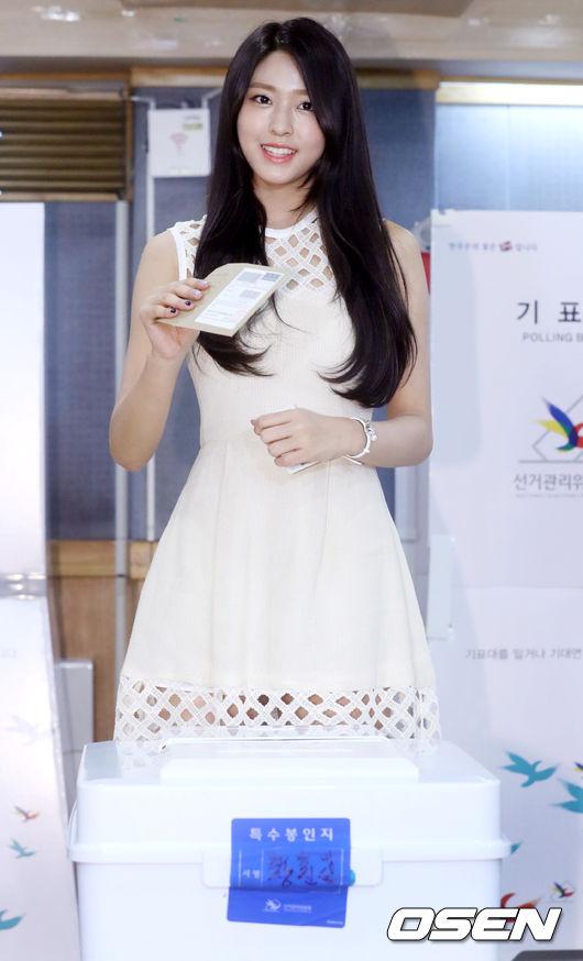 登登!是AOA的雪炫呦♡ 其實雪炫擔任了「2016美麗選舉」的宣傳大使~