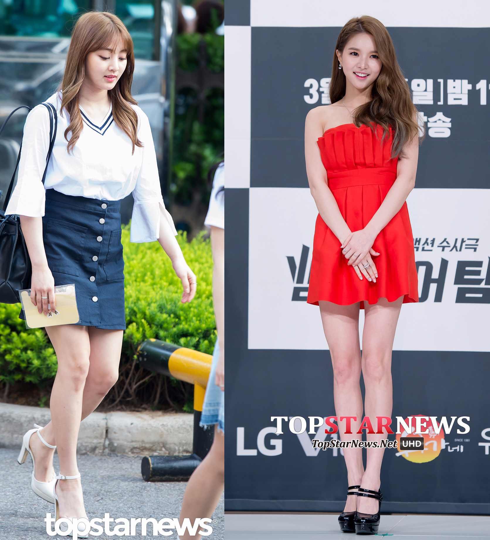 除了像太妍一樣的一根細帶,也還有兩根或者多跟細帶款。像志效一樣搭配同樣是今年夏天流行的單品A型短裙也可以很甜美。