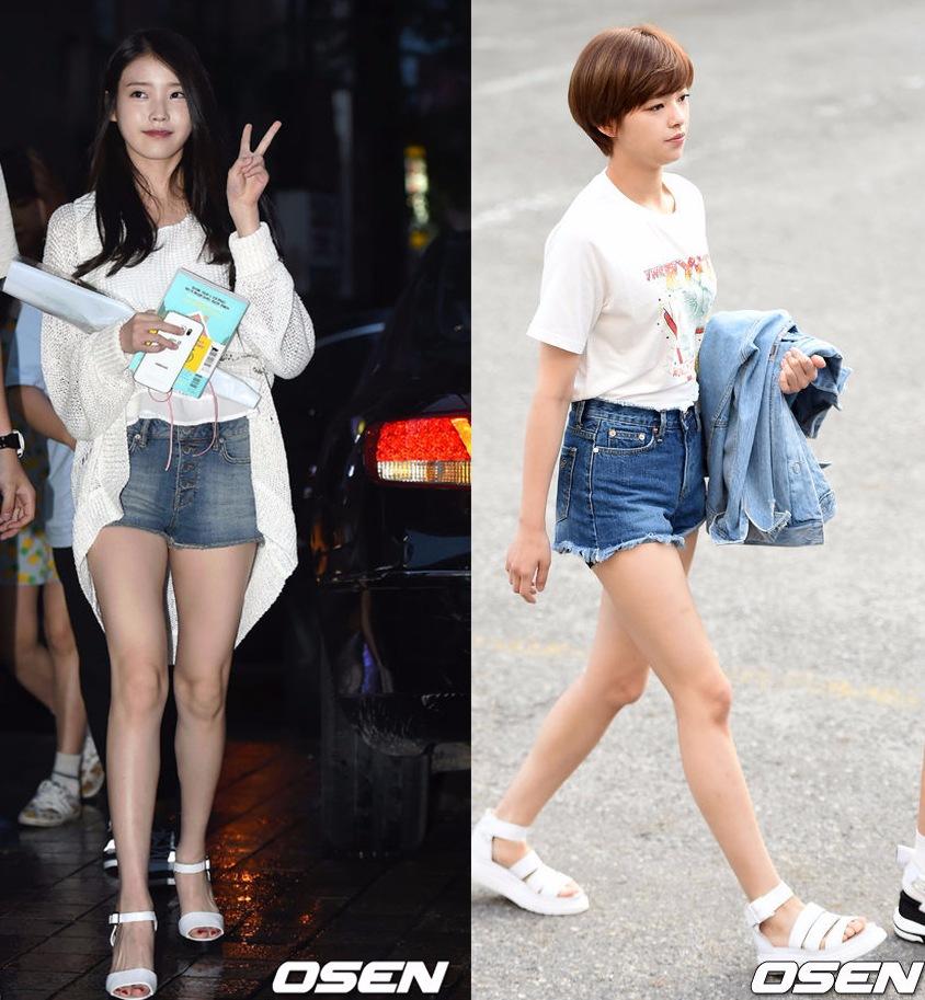 Style②運動休閒風 定延最新上班路上的寬帶平底綁帶涼鞋,搭配單寧熱褲+休閒T,雖然簡單,卻不是大方感,還有點小帥氣。或者是像IU一樣只是簡單的裸帶款也都很受韓妞歡迎。