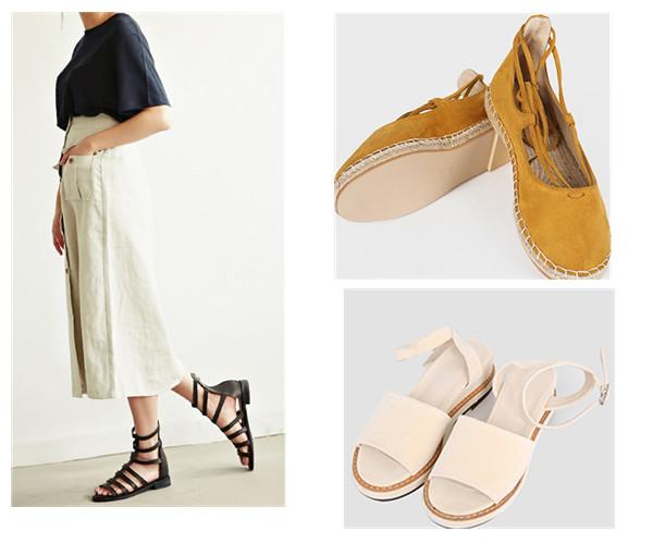 或者你想更個性一點,那就選一雙羅馬涼鞋吧!搭配同樣個性的寬褲,除了一般的皮質,還有麂皮或者帆布材質供你選擇。顏色方面也不一定局限於黑白色。