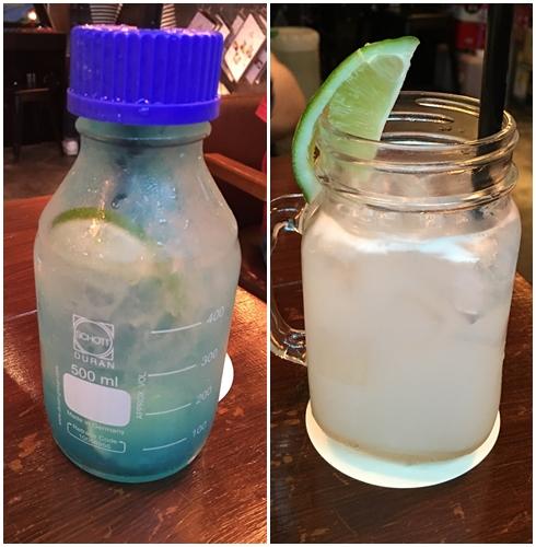 先說說左邊的Blue-lemon,喝起來檸檬味蠻重的,小編喜歡偏酸的飲料所以覺得還ok,但如果不適酸的朋友建議點別款唷 ! 右邊的水蜜桃椰果風味飲只能說完全不對小編與友人的胃... 喝起來有種感冒藥水的味道 > < (就是小時候去診所時喝的彩色藥水),個人喜好不同有興趣的就自己試試看吧 !