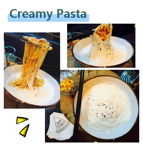 第一道餐點是網路上很紅的creamy pasta !! 看看那超美味的奶油一端上來整個食慾大開