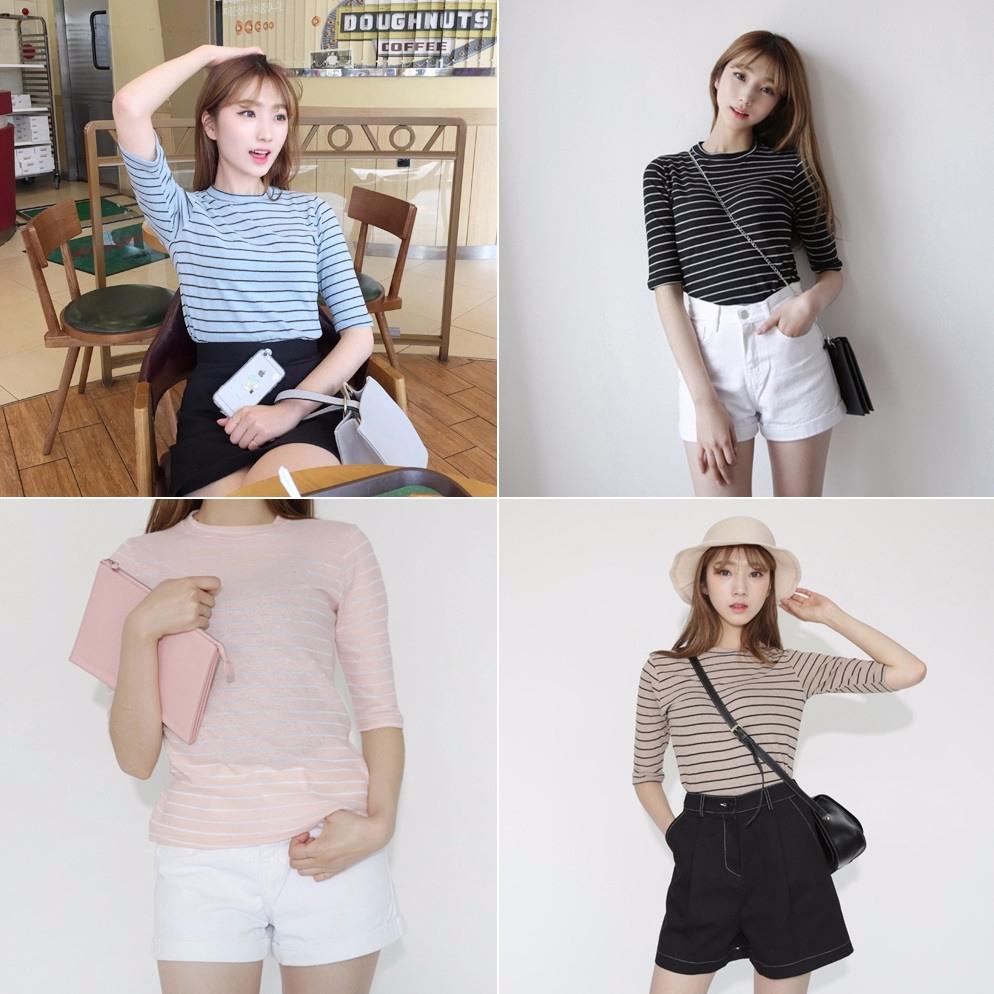 #橫條紋 橫條紋比較不適合給上半身肥胖的女生穿,穿起來只會讓自己看起來更壯喔!