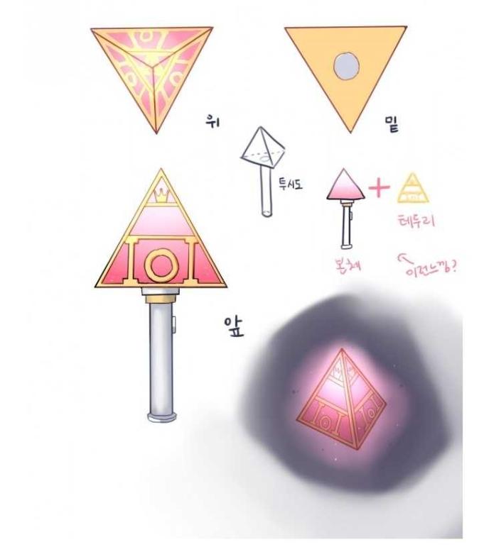 所以她們也想了一個象徵 I.O.I的手燈,從《Produce 101》節目 Logo而得到的靈感「金字塔」型手燈,不只雙色能避免撞色,還有特別的意義。