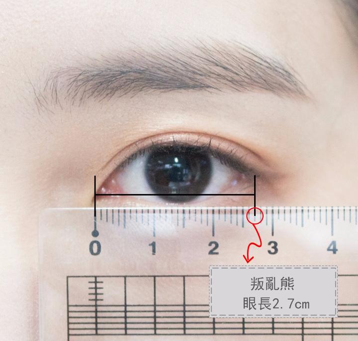 1. 測量眼長 水平放直尺,從眼角到眼尾的距離