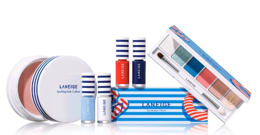 「Summer Marine 」系列還一起推出了指彩和眼影盤,指彩和眼影盤的主打顏色也是今年的流行色「玫瑰石英粉 X 寧靜藍」,整體包裝也充滿了海洋水手風格。