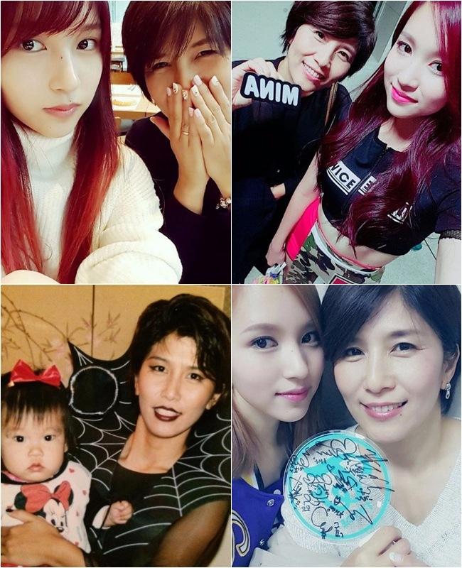 看右下角的照片就會覺得Mina和媽媽笑起來時的眼睛神韻好像有點相似!雖然Mina還有個哥哥沒有在鏡頭前公開過,但不少人都說Mina一家人都給人種有氣質的感覺呢!