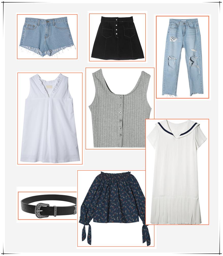 從前面的9組女團,可以看出,今年夏天最HOT的8件單品分別是:丹寧短褲、A字裙、長T、無袖T、黑色皮腰帶、一字領單品、海軍風單品。