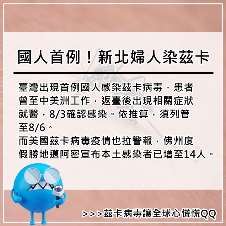 8月3日  這是台灣第4例境外移入茲卡感染個案,前3例是外籍勞工,兩名來自泰國北部,一名來自印尼。 如果大家要前往疫情流行地區,請做好防蚊措施,若自覺有感染徵兆,應盡速就醫檢測。