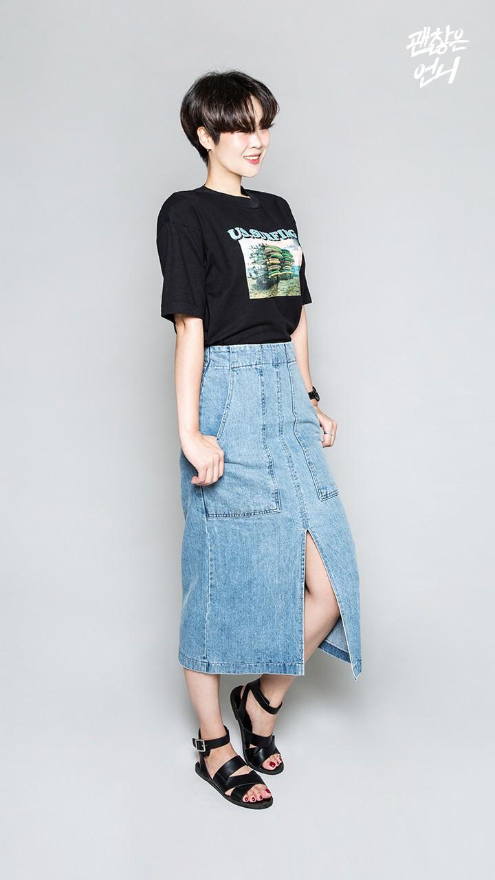 ▶ 牛仔長裙 本來以為T-shirt和長裙不搭,但穿起來根本就是完美搭配啊!