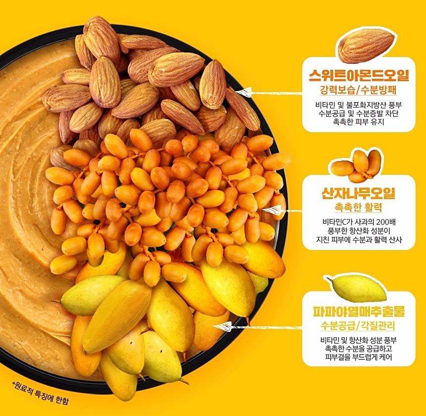 黃色部分則含南瓜、甜杏仁油、沙棘油、香草、薔薇果油成分 主要針對U字較乾、下垂的位置提供水份、保濕肌膚,增強皮膚彈力