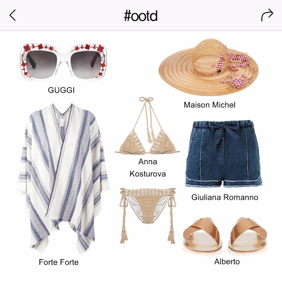最近很夯的編織比基尼跟條紋浴袍搭配在一起~整個是絕配呀~!!再加上可愛的花紋墨鏡 ,還有綁著蝴蝶結的草帽的話,帶有一點復古又可愛的海邊時尚穿搭~完成 ★!!!