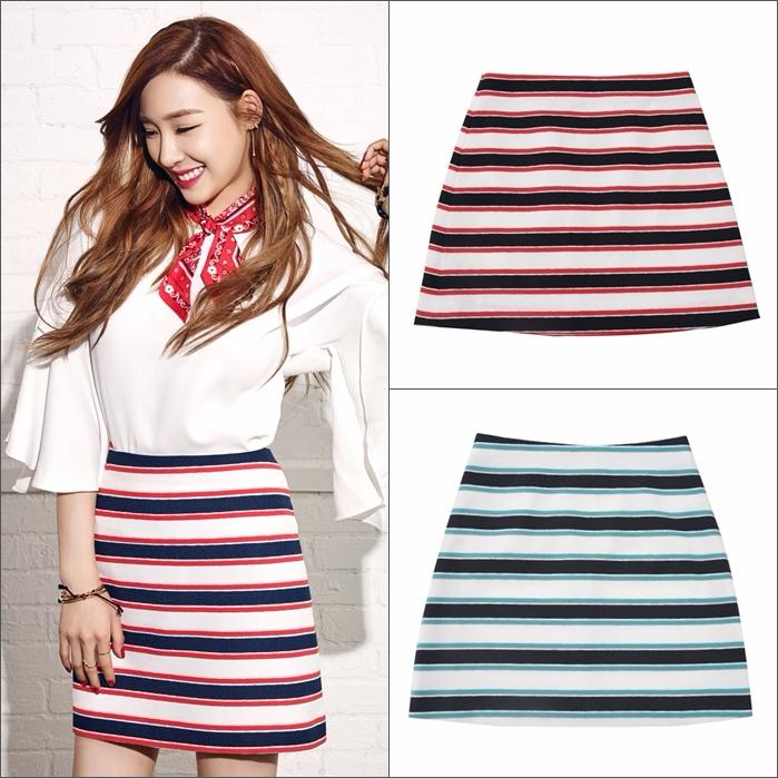 休閒條紋短裙,不是硬挺材質所以更加活動方便。摩登少女建議因為顏色已經很鮮豔了,所以上衣搭配盡量以素面單色為主最好唷