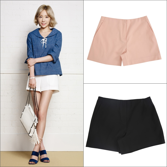 西裝短褲,硬挺版面穿起來不會貼大腿很顯瘦,單色的百搭黑白2款是絕對要買的!